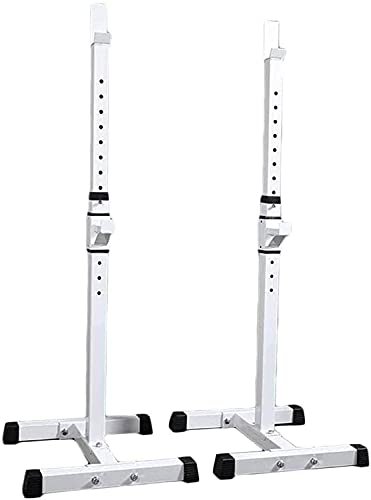 MRWW Squat Rack Ajustable Multifunción Barbell Rack Altura Ajustable Soporte Dip Stop HOGAR Gym Gym PEES DE Peso Prensa DE Best,White
