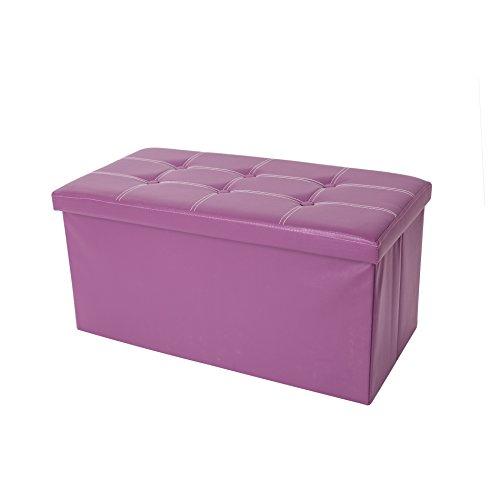 Mobili Rebecca® Pouf Boîte de Rangement Banc Rectangle Gagner de l'espace Violet Design Contemporain Salon Chambre 38 x 76 x 38 cm (Cod. RE4903)