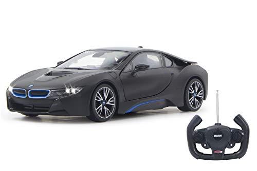 Jamara 404570 - BMW I8 1:14 schwarz Tür fernbedienbar 27Mhz - RC Auto, offiziell lizenziert, ca 1 Std Fahrzeit, ca 9 Km/h, perfekt nachgebildete Details, detaillierter Innenraum, LED Licht