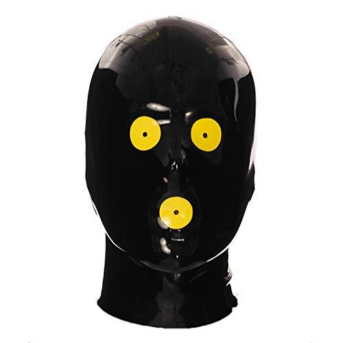 ラテックスフードマスクホリデーフードラバーブラックミスフィットフードパッチジッパー付き目と口用ラテックスマスク (M, 赤いトリム)
