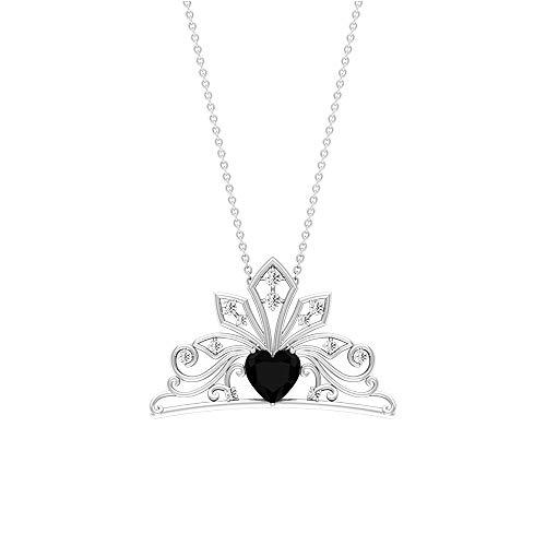 Collar con colgante solitario de ónix negro de 1,74 ct, collar de piedras preciosas en forma de corazón, colgante de racimo de diamantes 18K Oro rosa