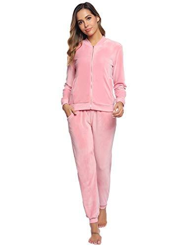 Akalnny Chándal Conjunto Mujer de Terciopelo Informal Pijamas Trajes Chaquetas de Manga Larga con Cremallera + Pantalones de Cintura Alta Rosa