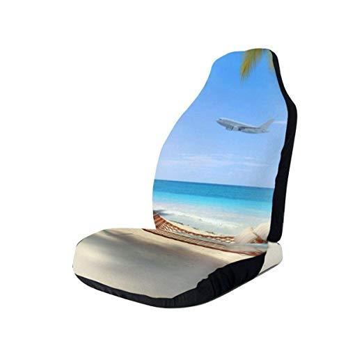 Tropisch strand met hangmat opknoping van palmbomen auto stoelhoezen beschermers voor de meeste auto's