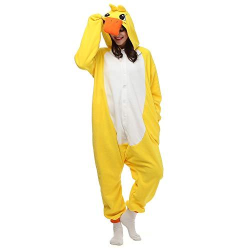 Gelb Ente Pyjamas Jungen Bekleidung Animal Erwachsene Unisex Schlafanzüge Karneval Onesies Cosplay Jumpsuits Anime Carnival Spielanzug Kostüme Weihnachten Halloween Nachtwäsche
