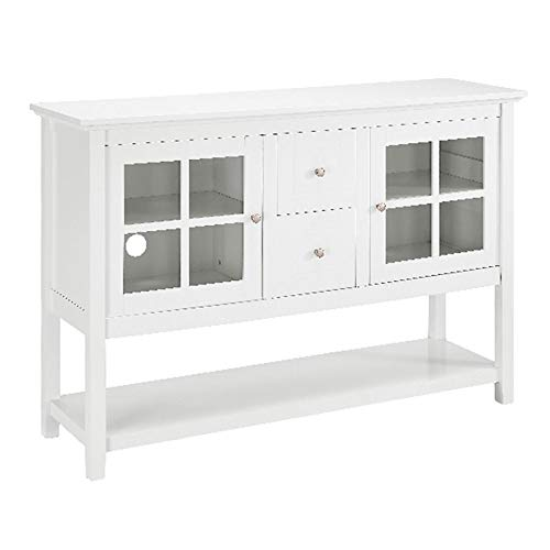 """Pemberly Row 52"""" Modern Highboy Style Tall Credenza TV Stand Console Buffet Sideboard Storage Cabinet in White"""