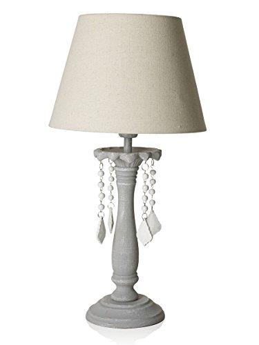 Lampe de table avec base en bois et cristaux en bois