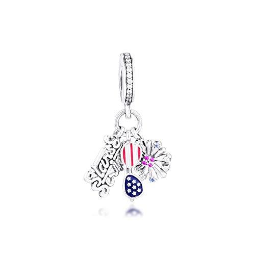 pandora 925 pulsera de la joyería natural de plata esterlina iconos americanos cuelgan cuentas encanto para las mujeres berloques regalo