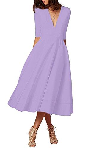 Minetom Mujer Vintage Vestidos Elegante Manga 1/2 Cuello en V Profundo Color Puro Vestir de Cóctel Fiesta Noche Midi Swing Dress Lavanda ES 38
