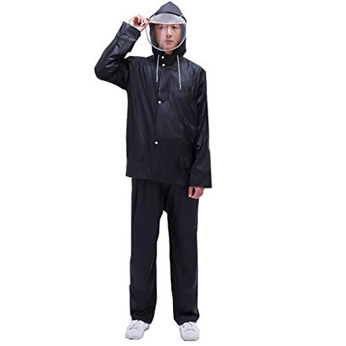 Regenjas regenbroek, Stortbui Thicken Fietsen Whole Body Waterproof Coat een hele reeks Plastic Split regenjas (Color : Black, Size : XL)