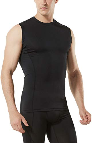 (テスラ)TESLA タンクトップ メンズ ノースリーブ ラウンドネック スポーツシャツ [UVカット・吸汗速乾] コンプレッション パワーストレッチ アンダーウェア スポーツインナー シャツ メンズ MUA05-KLB_L