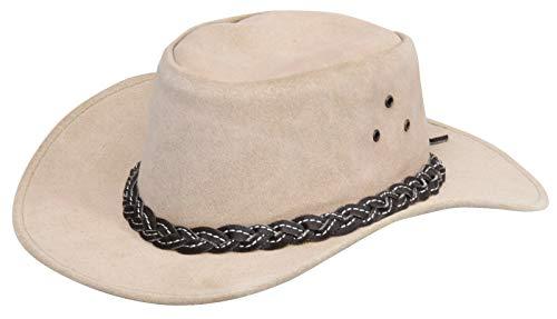 Infinity Leather Sombrero Australiano de Estilo Unisex Vaquero Outback Beige Cuero de Ante Bush XL