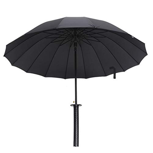 "ZHIYOUNI 37"" Inch tall Black 武士 Samurai Ninja Katana Umbrella Swords Umbrella Handle Creative Strong Windproof Semi-automatic Knife Umbrella Stylish Sun Rain Umbrella Decoration Gift (24K)"