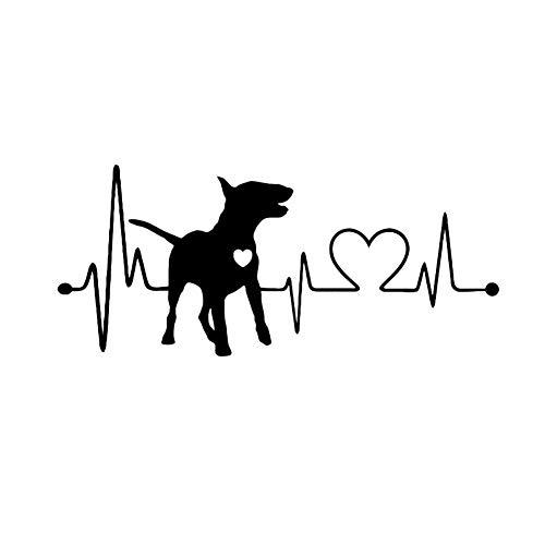 Porfeet Auto Aufkleber, Bullterrier Hund Elektrokardiogramm Karosserie Fenster Aufkleber Aufkleber Dekoration Schwarz