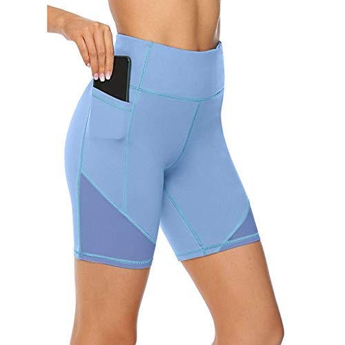 Lulupi Leggings Sport Hose Damen Yogahose Laufhose Mesh High Waist mit Taschen Shorts Stretch Kurz Leggins Tights Fitness Workout Laufen Boxershorts Hot Pants