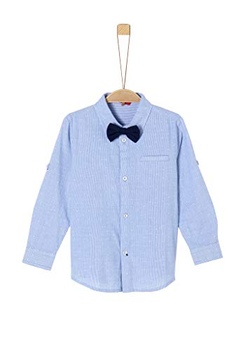 s.Oliver Jungen Hemd mit Fliege Light Blue Stripes 128/134.Slim