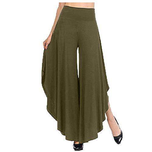 Asimétrico de las Mujeres Pantalones de Verano Mujer Ancho de la Pierna Pantalones Casual Sólido Cintura Elástica Pantalones