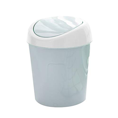 Mingtongli La Basura Puede Voltear la Tapa Cubo de Basura de plástico Escritorio de la cabecera de residuos Cesta para el hogar de la Sala, Azul