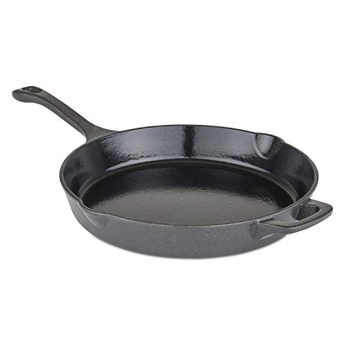 Viking Culinary Viking Enamel Cast Iron, 12 inch Round Fry Pan with Helper Handle, , Charcoal