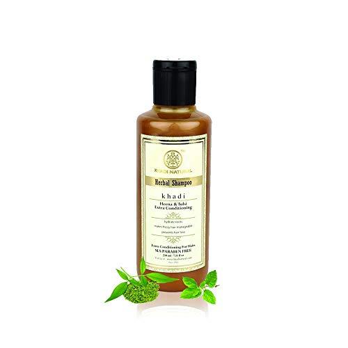 Khadi Natural Herbal Ayurvedic Henna Tulsi Conditioning Shampoo for all Hair Types SLS and Paraben Free (210 ml)