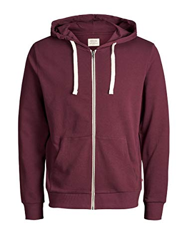 Jack & Jones Jjeholmen Sweat Zip Hood Noos Sudadera, Rojo (Port Royale), Large para Hombre