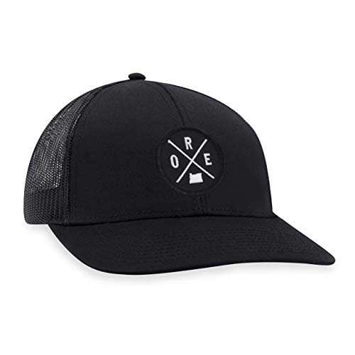 Oregon Hat - ORE Trucker Hat PNW Baseball Cap Snapback Golf Hat (Schwarz)