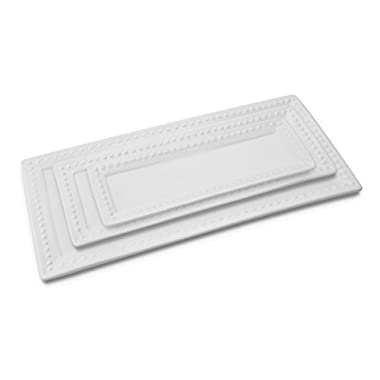 KOVOT Ceramic Rectangular Platter Set | 3 Piece Porcelain Platter Set Includes (1) Large, (1) Medium, (1) Small