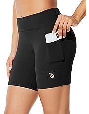 "BALEAF Women's 7"" Long Compression Running Shorts High Waisted Yoga Biker Shorts with 3 Pockets"