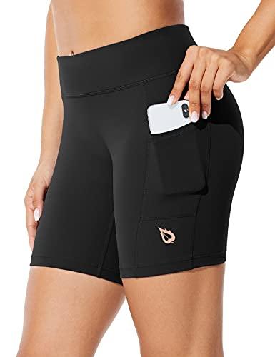 BALEAF Women's 7' Long Compression Running Shorts High Waisted Yoga Biker Shorts with 3 Pockets Black M