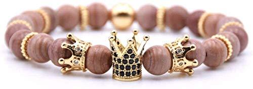 Plztou Pulsera de Piedra Mujer, 7 Chakra Piedra Natural Cuenta Rodocrosita Brazalete Elástico Yoga Lucky Bracelet Golden Zircon Crown Jewelry para Damas Regalo de Pareja de Navidad