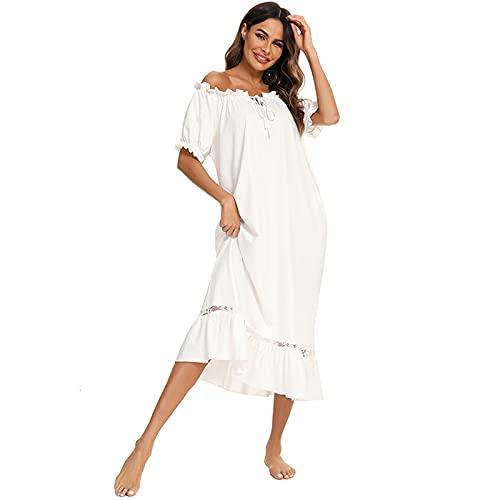Victorian Style Nachthemd Kurzarm Lange Nachtwäsche Frauen Plus Size Vintage Nachthemd,Weiß,S