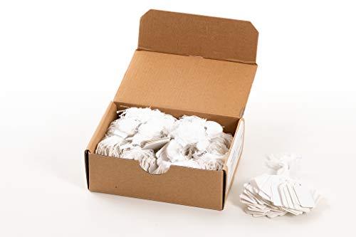 HERMA 6925 Hängeetiketten mit weißem Faden (25 x 38 mm, groß, Fadenlänge ca. 8 cm) Anhängeschilder aus Karton zum Beschriften, 1.000 Preisetiketten, weiß