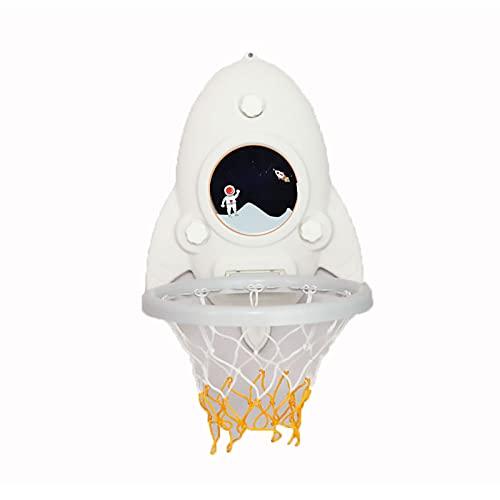 ZXCVB Aro de baloncesto para niños, sin agujeros, gancho pegajoso para montar en la pared, jardín de infantes para interiores y exteriores, diseño de dibujos animados de baloncesto blanco