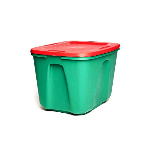 HOMZ 6618MXDC.04 Holiday Plastic Storage Container, 18 Gallon, Red/Green, 4 Sets