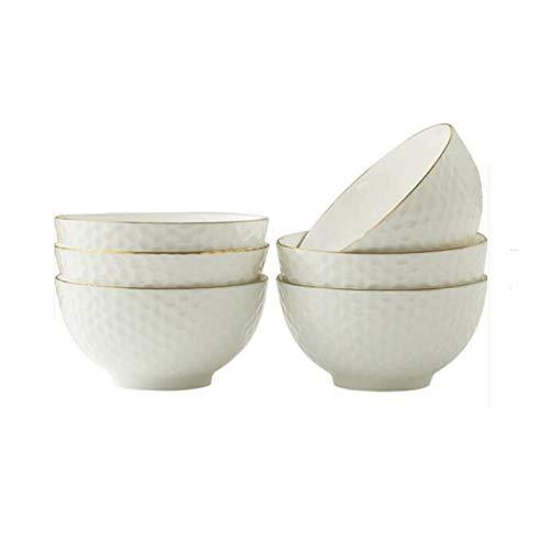 Lpiotyuwan Ensaladera, Cuenco de arroz de cerámica de 6 Piezas, vajilla doméstica, Comiendo Cuenco, tazón de Fideos Anti-escaldado Engrosado, tazón de cerámica de Oro en Relieve de 4,5/5 Pulgadas, t