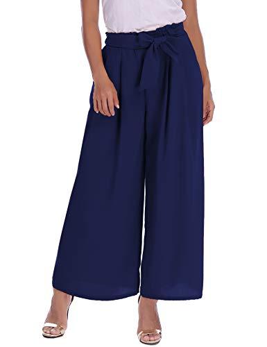 Abollria Damen Weite Hose Chiffon Paperbag Hose Casual Fließend Culotte Weite Bein Hohe Taille mit Bindegürtel,Navyblau,M