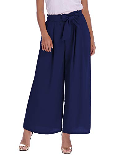 Abollria Damen Weite Hose Chiffon Paperbag Hose Casual Fließend Culotte Weite Bein Hohe Taille mit Bindegürtel,Navyblau,XL