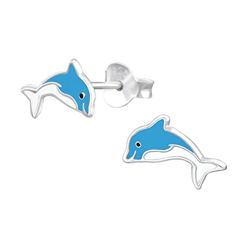Amanto Pendientes infantiles Chimak – Plata 925 E-Coating – Delfín – 7 x 10 mm