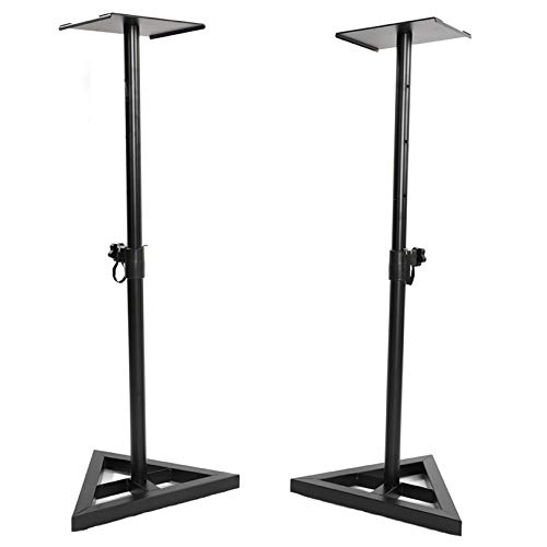 MITPATY 2pcs Heavy Duty Adjustable Height Pro Speaker/Monitor Stands Black - Heavy Duty Speaker Stand - Quality Musical Instrument Accessories