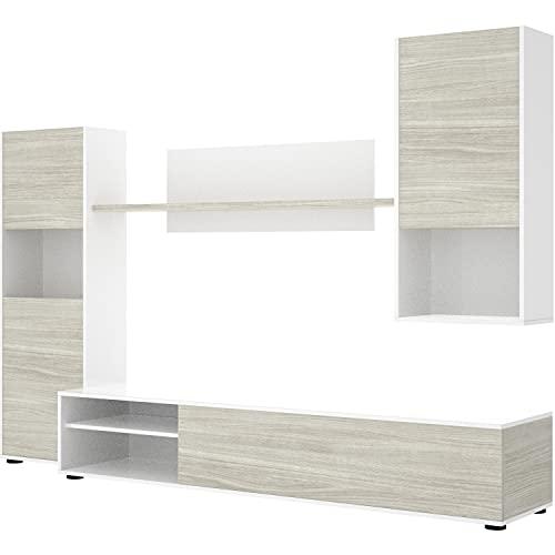 HABITMOBEL Mueble Salón Modular Blanco Combinado, Reversible diseño Moderno Comedor