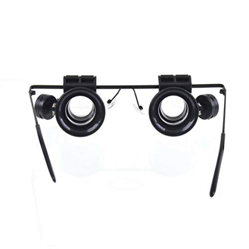 Funnyrunstore Resina liviana y plástico Reloj ocular doble Reparación Microscopio Herramientas Gafas Tipo 10X Reparación de reloj Lupa con luz LED, Negro