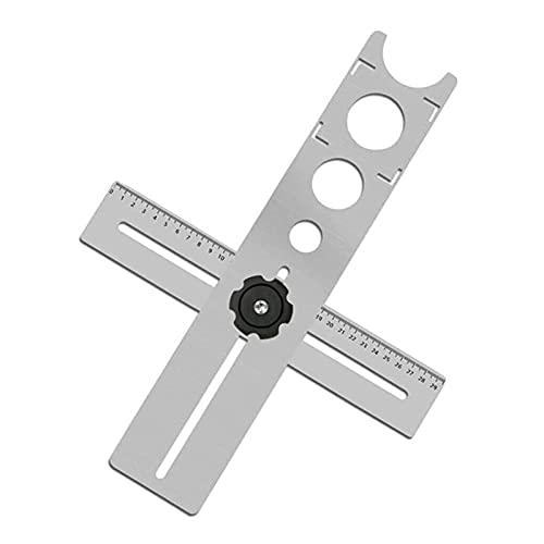 AHURGND Guía del localizador de perforación del agujero, herramienta de perforación de mármol de acero inoxidable portátil, herramientas de medida ajustable de la regla multifuncional, para baldosas d
