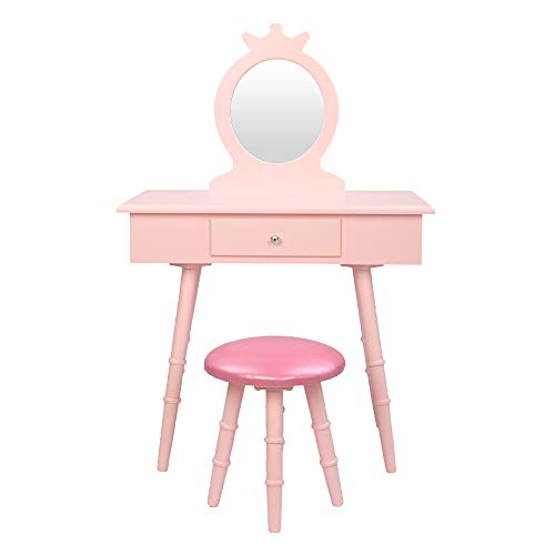 Mokylor Kids Vanity Set, Wooden Princess Makeup Table with Cushioned Stool, Large Drawer, Solid Wooden Legs and Crown Mirror, Pretend Beauty Make Up Dressing Play Set for Girls Best Gift