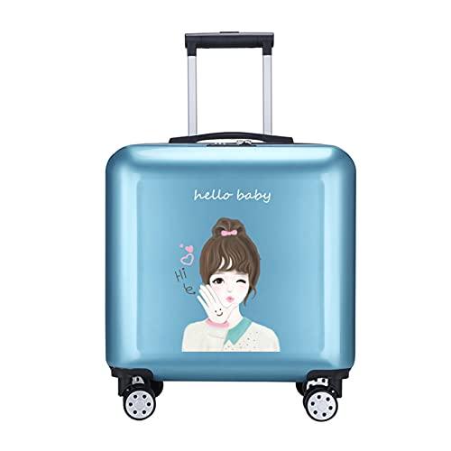 FGHHJ Deposito Bagagli della Ragazza, Bagagli di Viaggio, Carrello Leggero di Guscio Rigido Piccola Valigia con 4 Ruote,Blu