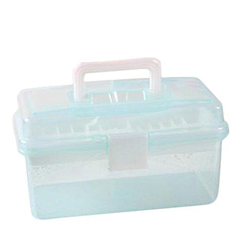 Plastique Boîtes de rangement Really Useful Boîtes – Haute Qualité transparente Boîte à outils pour Pen outils de peinture deux couches Portable Boîtes de rangement avec couvercle (Vert clair)