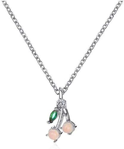 NC190 Collar de Cristal de Cereza Collar de Hoja Verde Collares Pendientes de Fruta de Cereza para Mujer Collar de Borla de Hip Hop al por Mayor Gargantilla joyería de Astilla