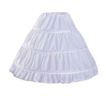 CEZOM Girls  3 Hoops Petticoat Full Slip Flower Girl Crinoline Underskirt MPT127-65 White