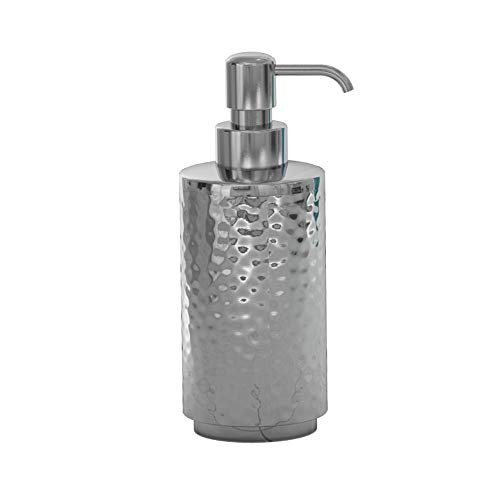nu steel Majestic Hammered Shiny Stainless Steel Refillable Liquid Soap Dispenser Pump Bottle for Bathroom Vanity Countertop, Kitchen Sink - Holds Lotion, Liquid Soap, Hand Soap - Shiny