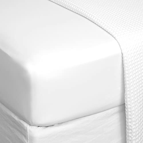 ROSE BELLA - Sábana Bajera Ajustable 100% algodón Franela, Ropa de Cama (Cama 90 | 2pack | 90x200x25, Blanco)