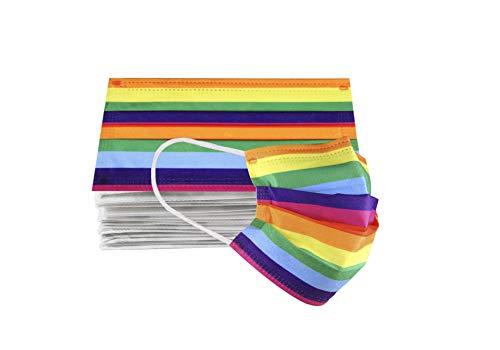 Paquete 10 Cubrebocas Estampados Adulto Termosellado 3 Capas (Líneas Rainbow)