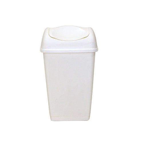 axentia Schwingdeckeleimer in der Farbe Weiß, Abfalleimer aus Kunststoff für Küche & Bad, Mülleimer mit Schwingdeckel, Fassungsvermögen: ca. 25 Liter